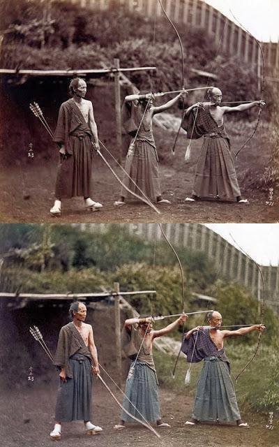 Arqueiros japoneses, cerca de 1860