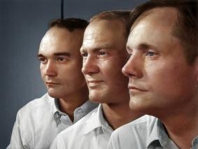 A equipe da Apolo 11: Michael Collins, Edwin Aldrin e Neil Armstrong