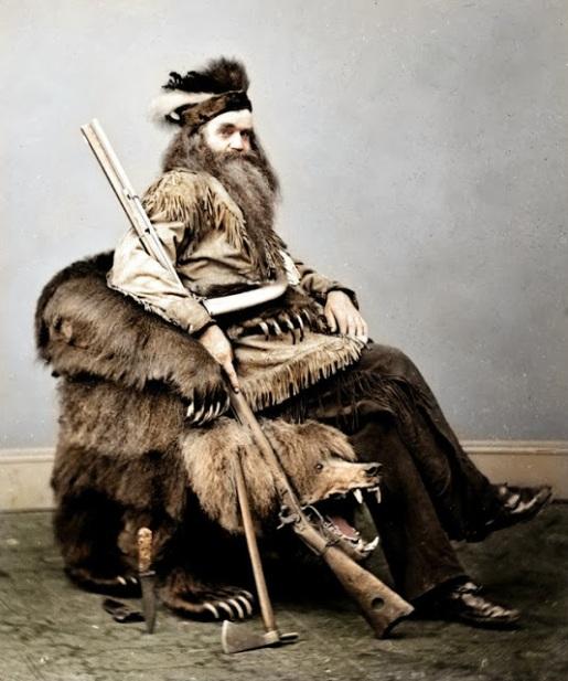 Seth Kinman, um caçador da California, EUA (1865)