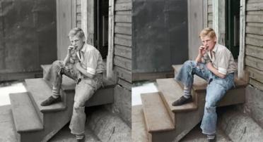 Jovem garoto em área pobre de Baltimore (EUA), julho de 1938