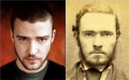 Justin Timberlake (cantor) e uma foto de um antigo bandido