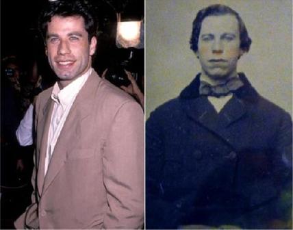 John Travolta (ator) e um homem desconhecido do Século XIX