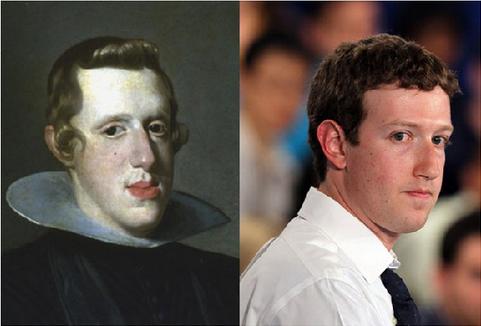 Filipe IV (antigo Rei da Espanha) e Mark Zuckerberg (criador do Facebook)