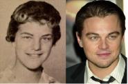 Uma mulher de uma antiga fotografia e Leonardo Di Caprio (ator)