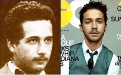 Albert Einstein quando jovem e Shia Labeaof (ator)