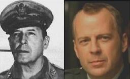 Douglas MacArthur (comandante militar norte-americano na Primeira Guerra Mundial) e Bruce Willis (ator)