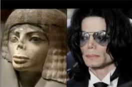 Antiga Estátua Egípcia e Michael Jackson (cantor)