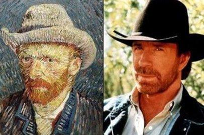 Van Gogh (pintor holandês) e Chuck Norris (ator norte-americano)