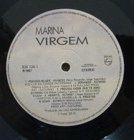 Rótulo do LP Virgem de Marina