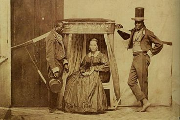 Escravos carregavam senhora na então província de São Paulo, por volta de 1860