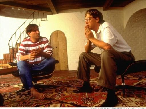 Steve Jobs e Bill Gates discutindo o futuro da computação, em 1991